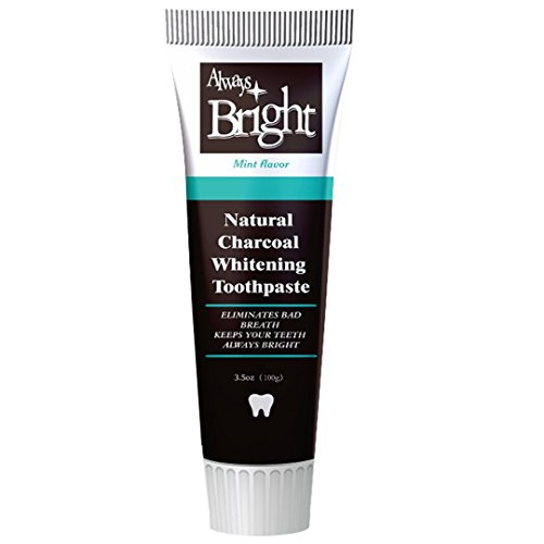Always Bright Activated Charcoal Teeth Whitening Toothpaste - Eliminates Tooth Stains and Removes Bad Breath