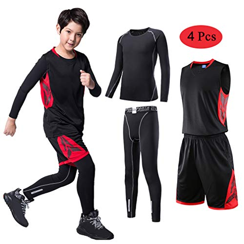 - TERODACO Boys Girls Athletic 2/3/4 Pcs Compression Baselayer Jersery Set Thermal