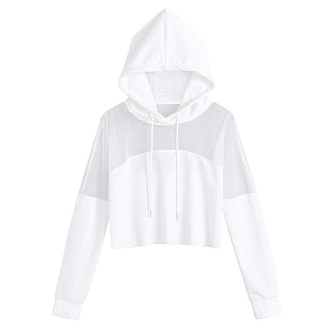 Sudaderas Mujer Cortas Tumblr, Otoño Transparente Camiseta de Manga Larga Blusa Tops Pullovers: Amazon.es: Ropa y accesorios