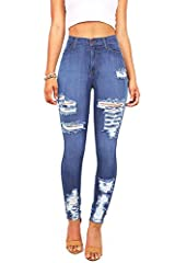 High rise skinny jeans withheavy distressing on the thighs and down at the ankles.Pockets at the front and at the back with traditional zip fly and button closure. Stretchy denim with a skin-tight fit.
