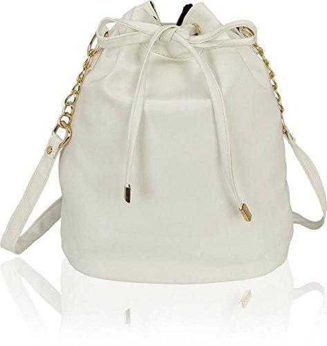 Kleio Girls PU White Bucket Sling Bag