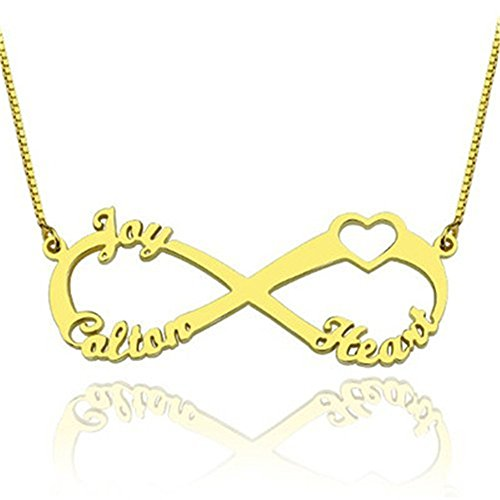 - 18K Gold Customized Infinity Family Name Necklace with Cut-Out Heart Custom Made with 3 Names (22 inches)