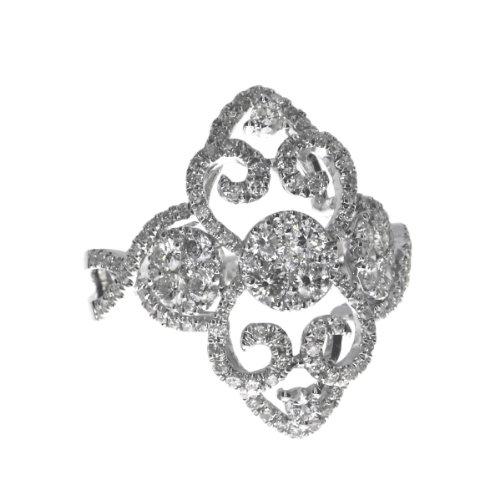 Buy direct-jewelry 14k white gold diamond scroll ring