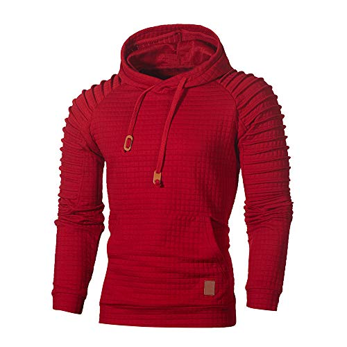 Realdo Mens Solid Plaid Hoodie, Autumn Long Sleeve Pleated Sweatshirt Top Outwear Blouse(3X-Large,Red)