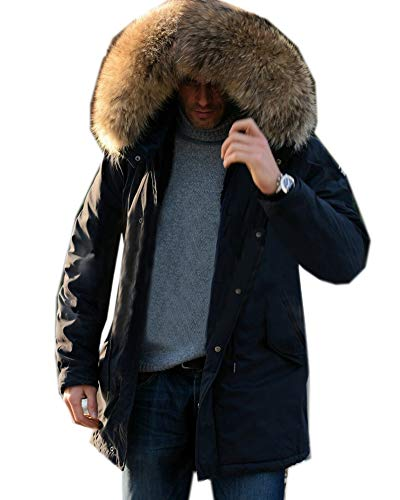 Roiii Mens Winter Warm Thick Faux Fur Waterproof Outdoor Hood Parka Long Trench Jacket Over Coat Plus Size S-3XL (Medium, Green Beige) (Parka Coats For Men With Fur Collar)