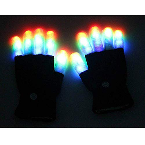 LED Finger Gloves Light Up Flashing Light Halloween Christmas Party Supplies Gifts Stage Show Club Bar -