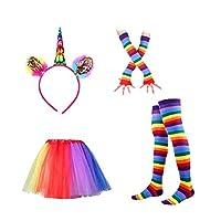 LUOEM Rainbow Tutu Skirt Suit Cosplay Costume with Headband Stocking for Girl