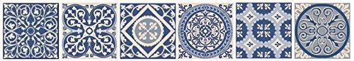 PLAGE 260538Smooth–Tiles adesivo per mattonelle cemento piastrelle cielo blu–Archetto Azulejos, 6, vinile, BLU, 15x 0,1x 15cm PLAGE SA
