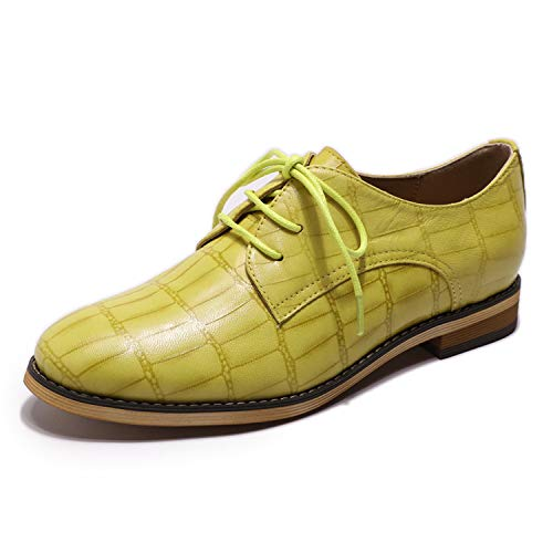 Mona flying Womens Leather Oxfords Lace-up Derby Saddle Shoes for Womens Girls Ladies Lemon