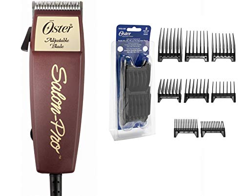 Oster Salon Pro Adjustable Pivot Motor Clipper & 8 Piece Oster Guide Combs