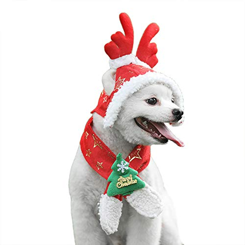 RYPET Christmas Dog Costume - Detachable Dog Antler Christmas Hat Pet Costumes Dogs Christmas Party Medium -