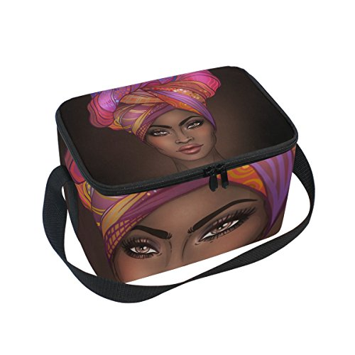Lunch Bag African American Woman Square Tote Bag Picnic Travel Organizer Lunch Holder Lunch Handbags Box