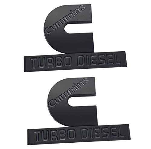 2 Pack Cummins Turbo Diesel Emblems, Badges High Output Nameplate Small Size Replacement Sticker for RAM 2500 3500 Fender Emblem Mopar (Black)