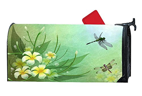 Customized Magnetic Mailbox Cover for Standard Sized Mailboxes 6.5 x 19 Inches Green Nature Wallpapers Dragonflies