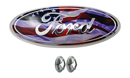 Muzzys FORD 05-14 F150 ~WAVY~ American Flag~ Grille or Tailgate Emblem WITH NUTS, Oval 9