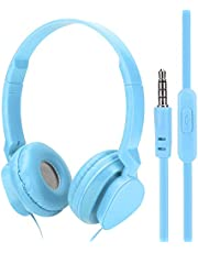 Wired Headphones - PC Game Headsets Professional Over Ear Music Earpiece Headphone with Mic for Boys Giirls, 3.5mm Laptop Headphone for School Classroom Home(Blue)