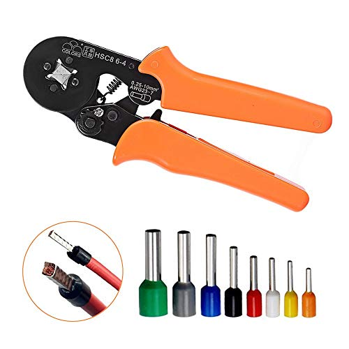 - Ratchet Wire Crimping Tool, Self-adjustable Square Ferrule Crimper Crimping Pliers for 0.25-10mm² Wire Terminals (Old Packaging)