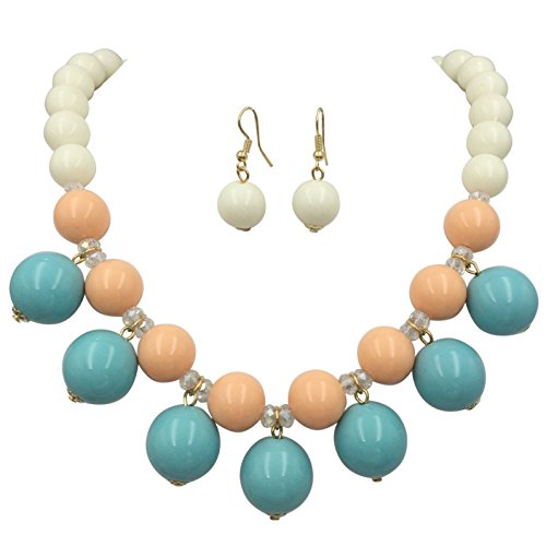 (Gypsy Jewels Chunky Resin Drop Beads Unique Statement Necklace & Earrings Set (Blue Peach White))