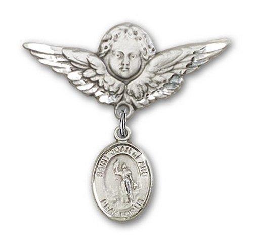 Icecarats Créatrice De Bijoux En Argent Sterling St. Jeanne D'Arc Broches Badge Charme D'Ange 1 1/8 X 1 1/8