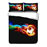 ADASMILE A & S 3D Fire Soccer Teen Bedding Sets Boys Sports Twin Duvet Cover Sets 3PCS 1 Duvet Cover+2 Pillow Shams,(Comforter not Included)