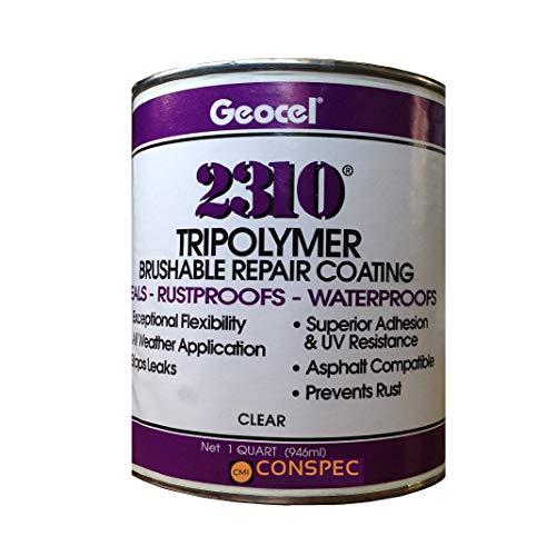Geocel 2310 Industrial Grade Sealant Clear 1 Quart Brushable Instant Roof Leak Crack Repair Coating