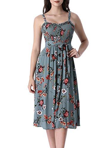 VFSHOW Womens Greyish Green Floral Ruffle Neck Spaghetti Strap Smocked Buttons Pockets Casual Beach Swing A-Line Midi Dress G2989 GNR - Strap Spaghetti Shirred Dress
