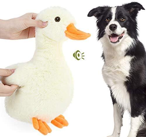 "Pawaboo Squeak Plush Duck Dog Toy, Large 12"" Super Soft Plush Stuffed Duck-Shaped Pet Toys, Crinkle Paper Rattle Pet Biting Training Chew Toys Non-Toxic Plush Doll for Pet Dogs, Light Yellow/Orange"