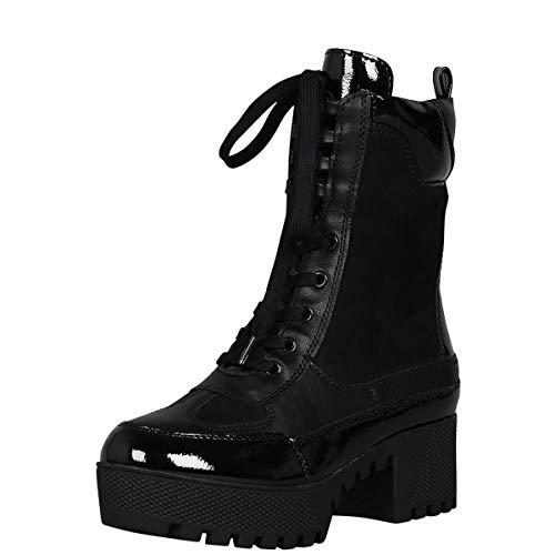 BAMBOO Womens Round Toe Lace Up Lug Sole Military Combat Ankle Booties Boots 10 Black