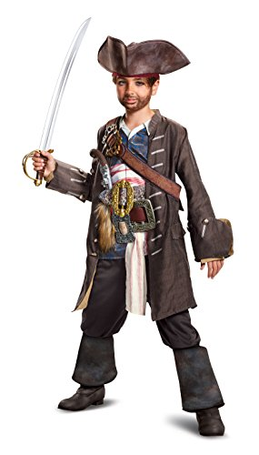 Disney POTC5 Captain Jack Sparrow Prestige Costume,  Multicolor,  Medium (7-8) -
