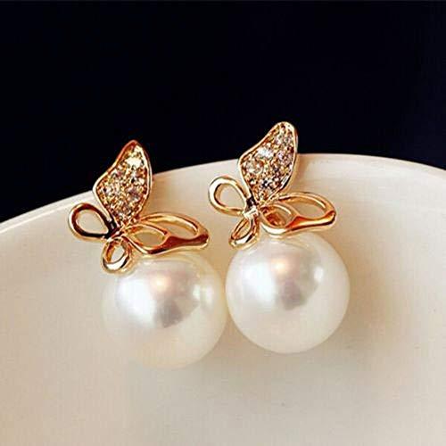 Golden Imitation Sterling Animal Lovely Earring Pearl Ear Stud Butterfly