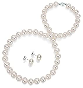 """14k White Gold 7-7.5mm White Freshwater Cultured Pearl Necklace 18"""" and Stud Earrings Set"""