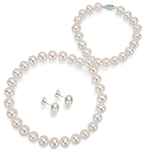 (14k White Gold 6-6.5mm White Freshwater Cultured Pearl Necklace 18