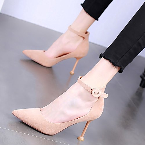 Single KPHY Fashionable Spring Shoes Buckle Women'S Cat Pointed Heeled Shallow And Sexy Thin 9Cm Apricot Shoes High color Shoes FOFqrCw