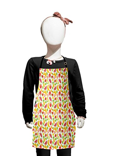 Lunarable Watermelon Kids Apron, Hawaiian Food Pattern with Pineapple Strawberry Lemons and Bananas Grunge Effect, Boys Girls Apron Bib with Adjustable Ties for Cooking Baking and Painting, Multicolor ()
