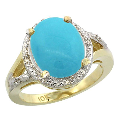 14K Yellow Gold Natural Turquoise Ring Oval 12x10mm Diamond Accent, size 6 6x10mm Oval Turquoise Ring