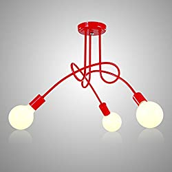 OYGROUP Modern Red 3-heads Hanging Ceiling Lamp Decoration for Home Bedroom Dining Room Bar Hotel Cafe Shop with No Bulb