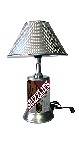 JS Table Lamp with Chrome Colored Shade, Montana Grizzlies Plate Rolled in on The lamp Base