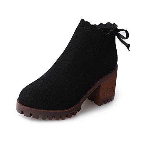 HSXZ Zapatos de mujer Cuero de Nubuck invierno primavera moda bota botas botas de tacón Chunky Round Toe Toe cerrado botines/botines de Bowknot Black