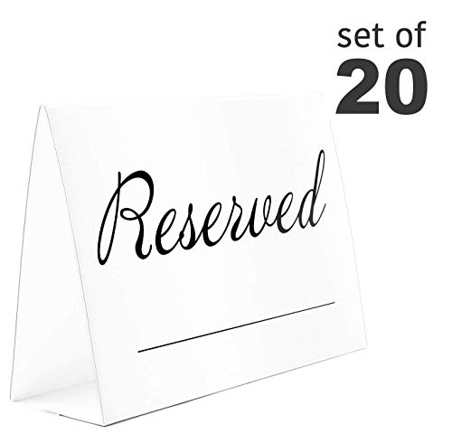 20 Pack Rustic Reserved Table Sign With Name Line - Reserved Signs For Wedding - White Reserved Signs - Wedding Accessories - Tent Cards For Reserving Seats & Places - Place Cards for Party, Event