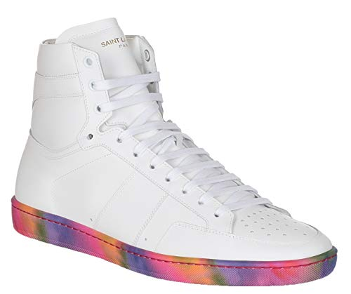 Saint Laurent Men's White Leather Rainbow Sole SL/10H High Top Sneakers Shoes, White, US 8.5 / EU 41.5 (Yves St Laurent Shoes)