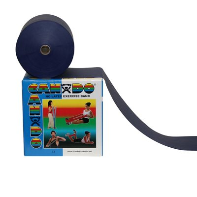 (Cando 10-5624 Blue Latex-Free Exercise Band, Heavy Resistance, 50 yd Length)