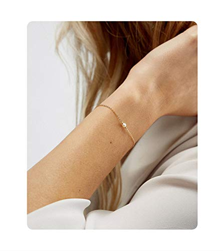Fremttly Womens Minimal Jewelry Gift Dainty Tiny Freshwater Pearl Bracelet 14K Gold Fill/Rose Gold/Silver Plated Handmade Jewelry-BR-1-Pearl ()