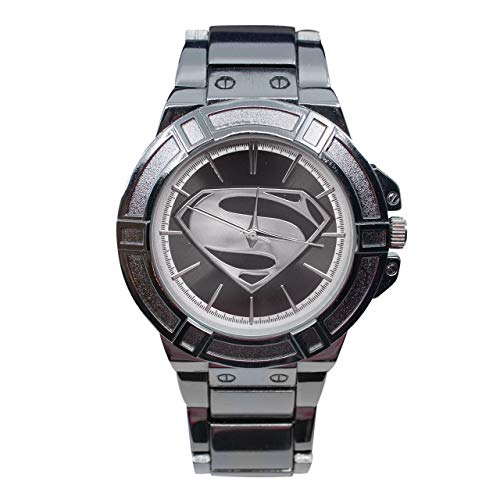 Superman Black Suit Costume Watch with Metal Band -