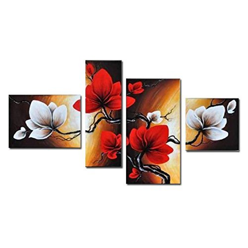 Wieco Art - Large Size Modern Abstract Floral 4 Piece 100% Hand Painted Full Bloom in Spring Red Flowers Oil Paintings on Canvas Wall Art for Living Room Bedroom Home Decorations (Piece 4 Full Panel)
