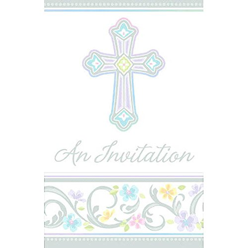 Amscan 499420 Blessed Day Folded Invitations, 3 7/8