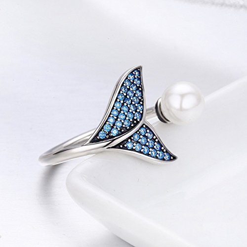 Forever Queen Mermaid Tail Ring, S925 Sterling Silver Dolphin Tail Adjustable Finger Ring for Women Girls Open Ring with Blue Cubic Zirconia& Shell Pearl BJ09067 by Forever Queen (Image #3)