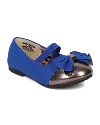 JELLY BEANS Saroya Gold Cap Round Toe Ballet Flat Bow Elastic Mary Jane (Toddler) AC85 - Royal Blue Faux Suede (Size: Toddler 6) by JELLY BEANS