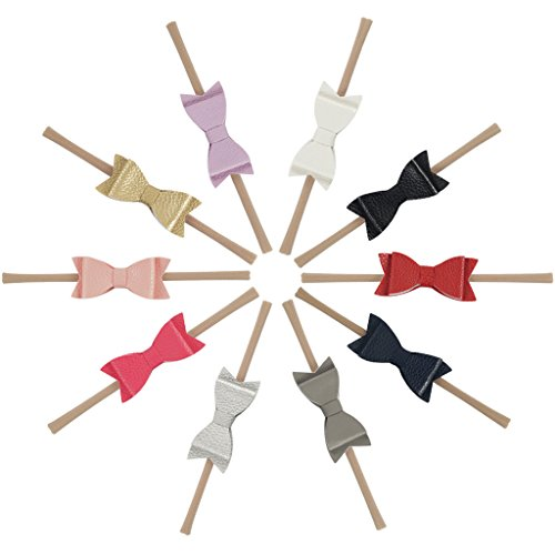 Ncmama Artificial Leather Bows Nylon Elastic Baby Girls Headband for Newborn Infant Toddler Hairband Pack of 10 (Infant Bow Headbands)