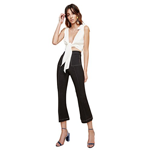 Vero Viva Women's Open Wire Cropped Flare Pants Wide Leg Trousers Zipper(L,Black)