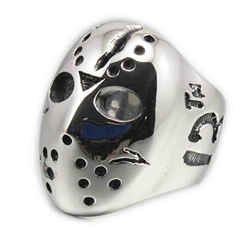 LINSION Halloween Jason Mask Hockey 316L Stainless Steel Men Biker Rock Punk Ring 3F001 (11)